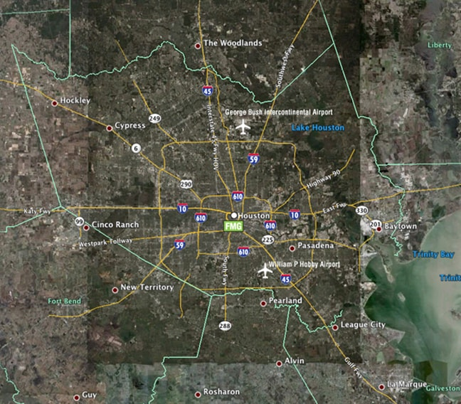 FMG Design, Inc. on the Houston, Texas Map