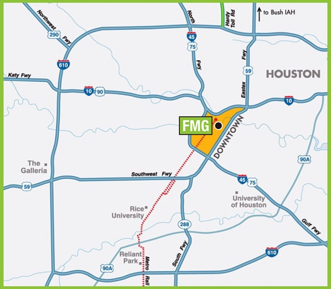 FMG Design, Inc. - Detailed Road Map of Houston, Texas