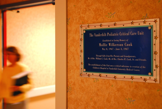 Vanderbilt Children's Hospital - Cook Donor Recognition Plaque
