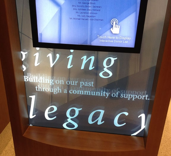 Silver Cross Hospital - Donor Recognition Legacy Hall Screen Detail