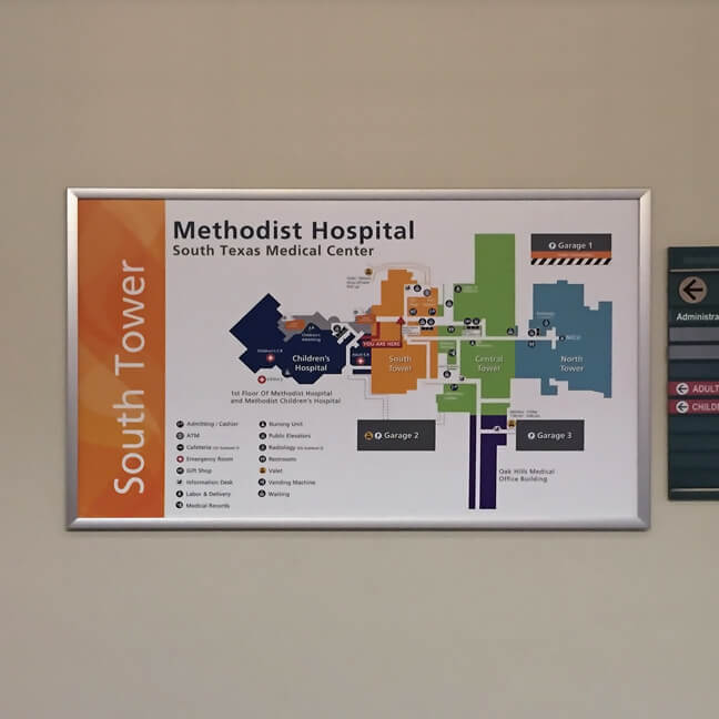 Methodist Healthcare San Antonio - Visitor Campus Map Sign