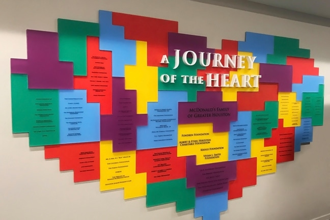 Ronald McDonald House Houston - Donor Recognition Wall - Journey of the Heart