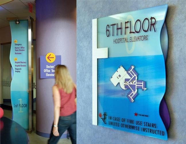 Vanderbilt Children's Hospital_Freestanding Directional Pylon and Elevator Code Plaque