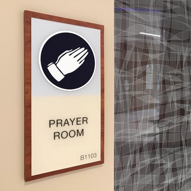 HMSH_Houston Methodist Sugar Land Hospital_Interior Area Identification Plaque AIP_Prayer Room