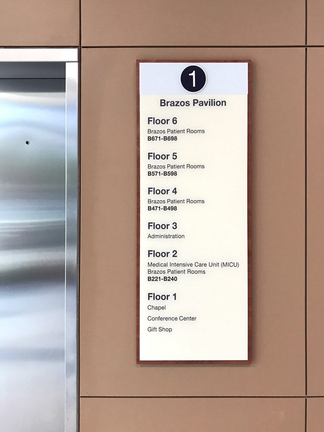 HMSH_Houston Methodist Sugar Land Hospital_Interior Elevator Level Identification