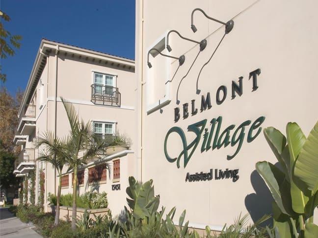 Belmont Village Senior Living - Encino - Exterior Building Mounted Logo BML