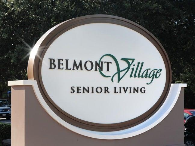 Belmont Village Senior Living - West U - Exterior Building Identification Monument BIM