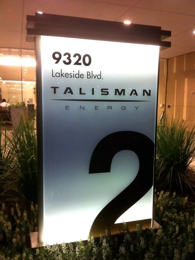 Research Forest Lakeside - Exterior Building Identification Monument (Night): Building 2 Talisman Energy