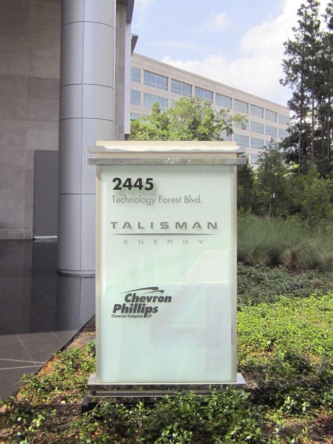 Research Forest Lakeside - Exterior Building Identification Monument: Building 4 Talisman Energy & Chevron Phillips