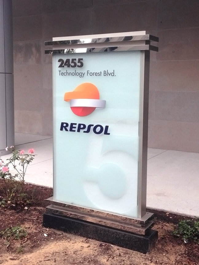 Research Forest Lakeside - Exterior Building Identification Monument: Building 5 Repsol