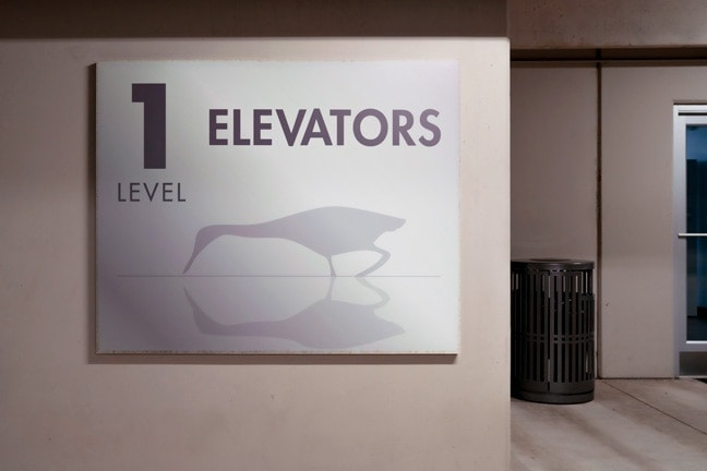 Research Forest Lakeside - Garage Elevator Bank Identification: Level 1