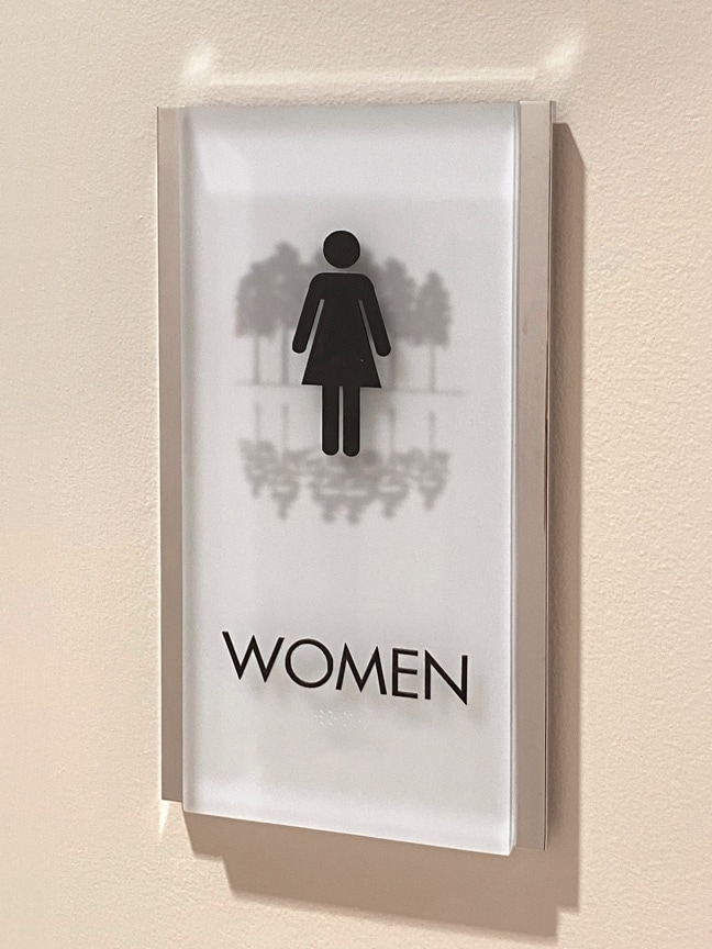 Research Forest Lakeside - Interior Restroom Plaque: Women